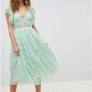 NEW ASOS SEAGREEN  lace midi dress us 8 SPRING!